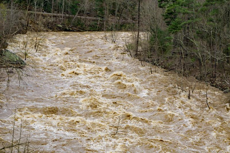 The Raging Power of the Flooding of the Maury River stock image