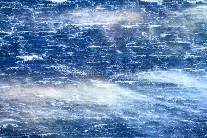 Raging sea with furious waves. And fierce wind stock photo