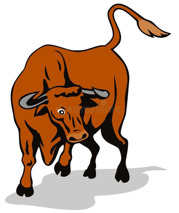 Raging texas longhorn bull royalty free illustration