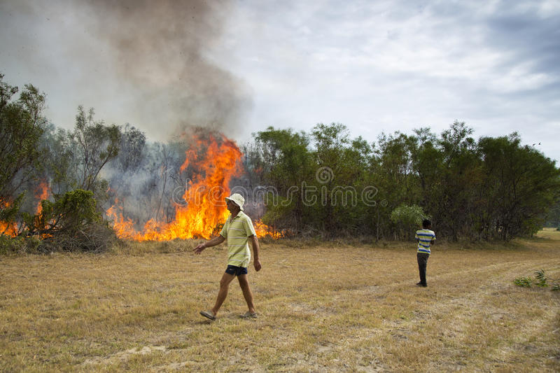 Raging wildfire in Port Elizabeth, South Africa. Adults and children keeping a wildfire under control that is raging near a home for destitute adults and a royalty free stock photography