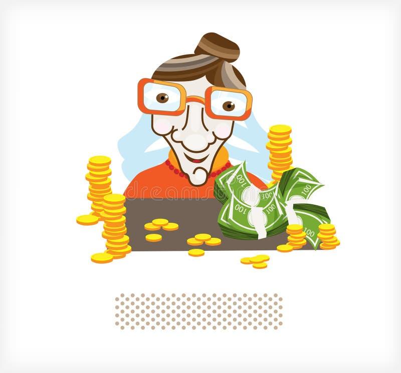 Ragioniere con soldi e le monete A illustrazione vettoriale