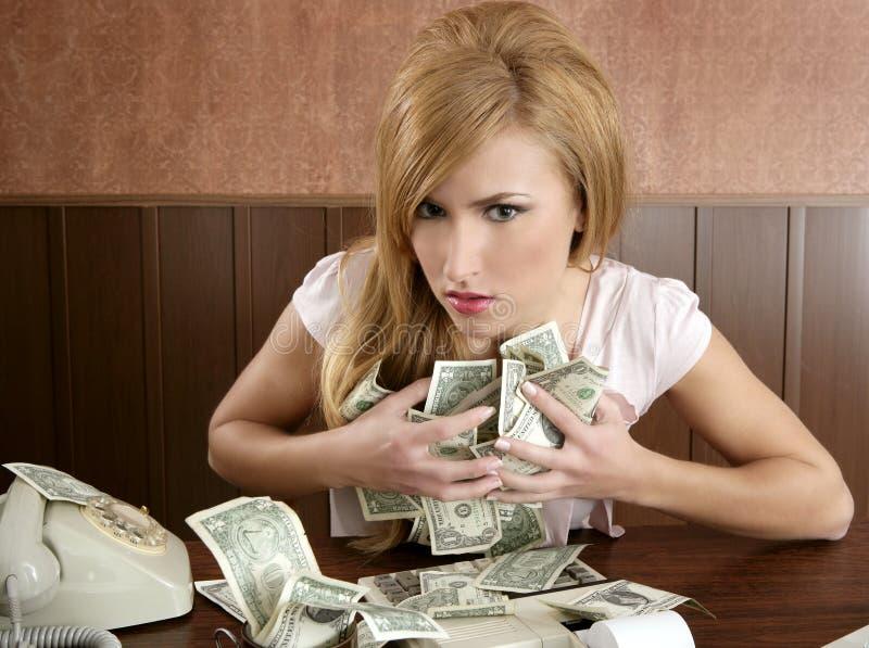 Ragioniere dell'annata dell'ufficio della donna dei soldi di ingordigia retro immagini stock libere da diritti