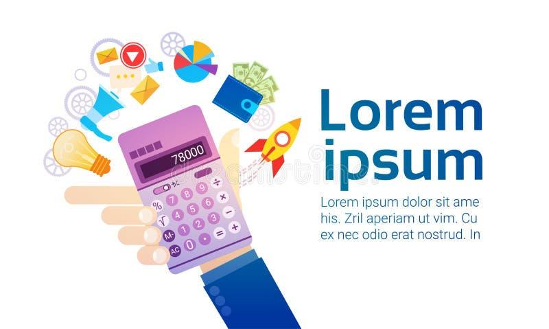 Ragioniere di attività bancarie di Hand Hold Calculator della persona di affari illustrazione vettoriale