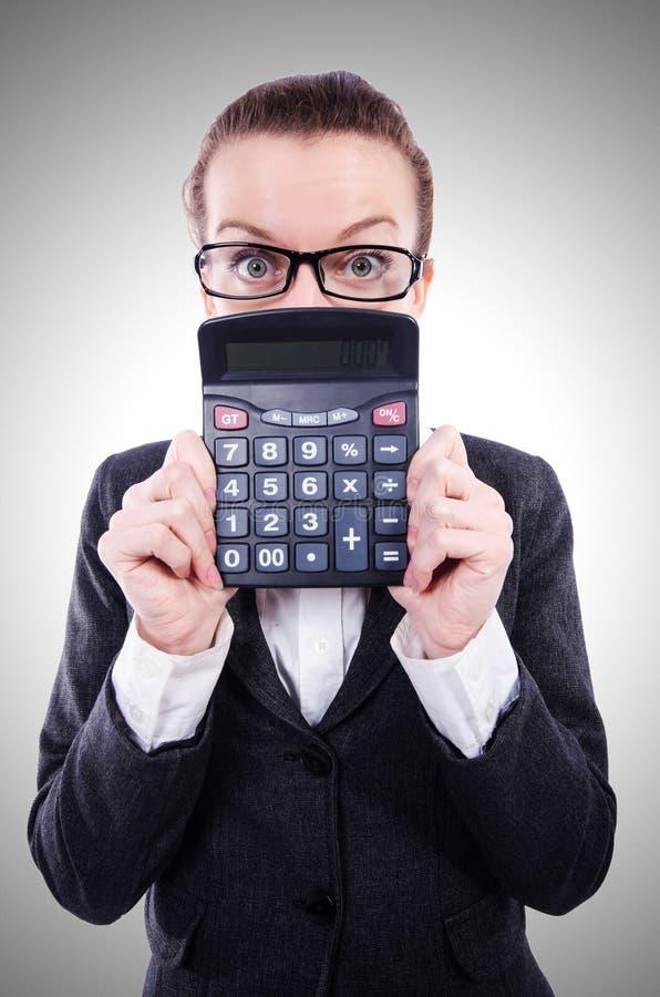 Ragioniere divertente con il calcolatore immagini stock libere da diritti