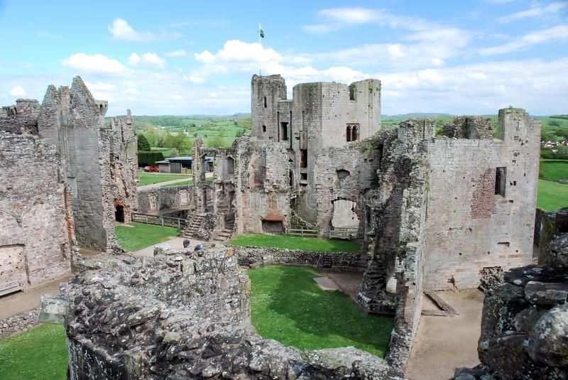 Raglan Castle ruins late medieval castle - Southeast Wales. Raglan Castle - Castell Rhaglan - ruins late medieval castle with multi-angular towers, courtyard royalty free stock images