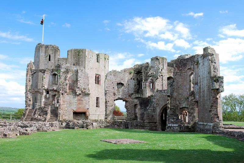 Raglan Castle ruins late medieval castle - Southeast Wales. Raglan Castle - Castell Rhaglan - ruins late medieval castle with multi-angular towers, courtyard stock photography