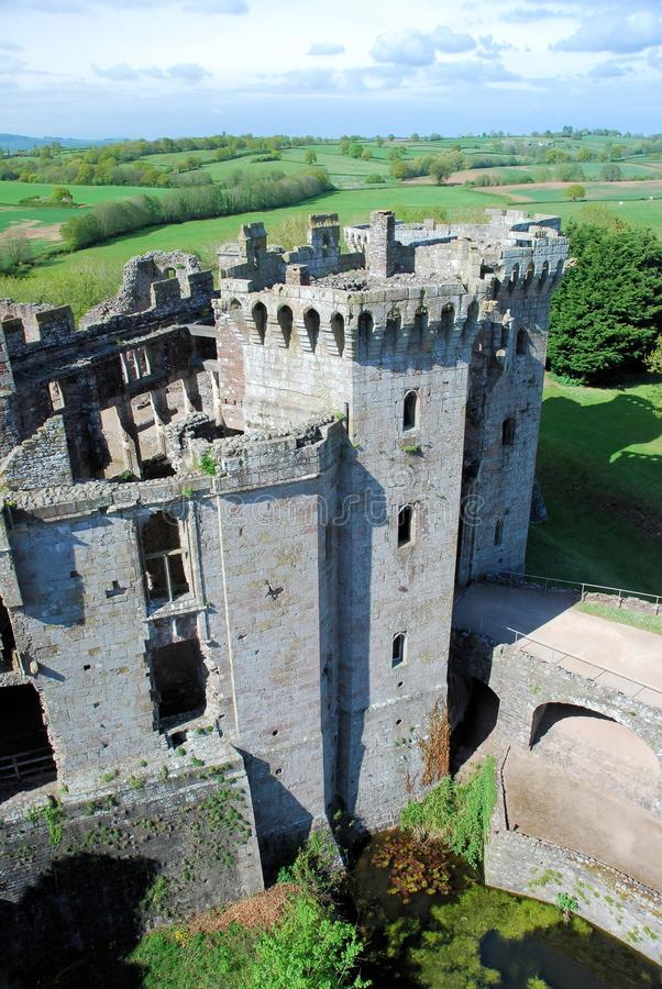 Southeast Wales - Raglan Castle ruins late medieval castle. Southeast Wales - Raglan Castle - Castell Rhaglan - ruins late medieval castle with multi-angular stock images