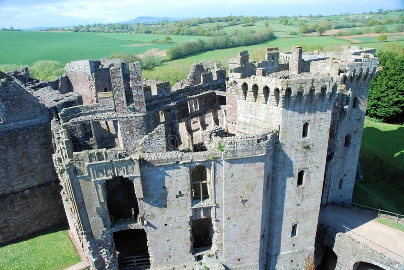 Wales - Raglan Castle ruins late medieval castle. Southeast Wales - Raglan Castle - Castell Rhaglan - ruins late medieval castle with multi-angular towers stock photography