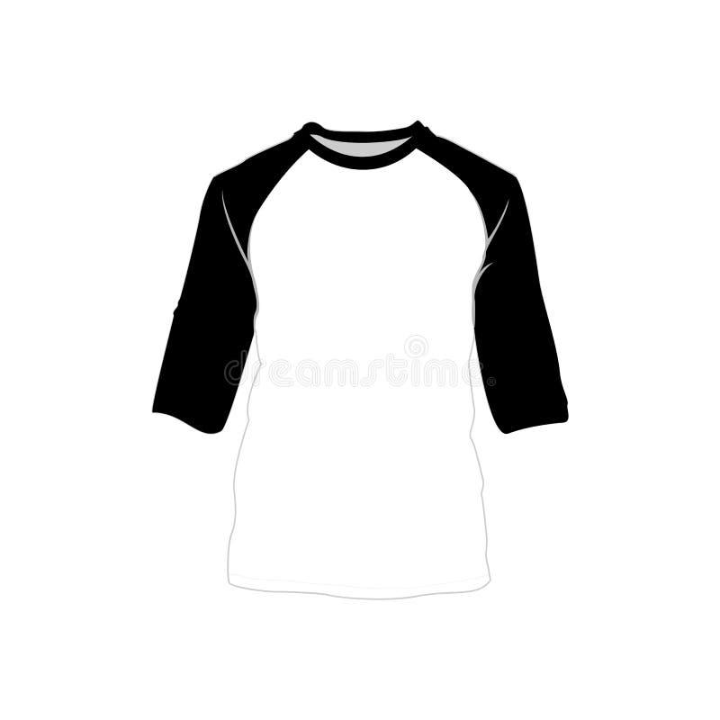 Raglan Illustratie van het de Stijlpunt van de Overhemds de Zwarte Witte Manier vector illustratie