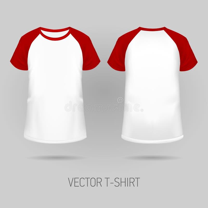 Raglan t-shirt met rode korte koker vector illustratie