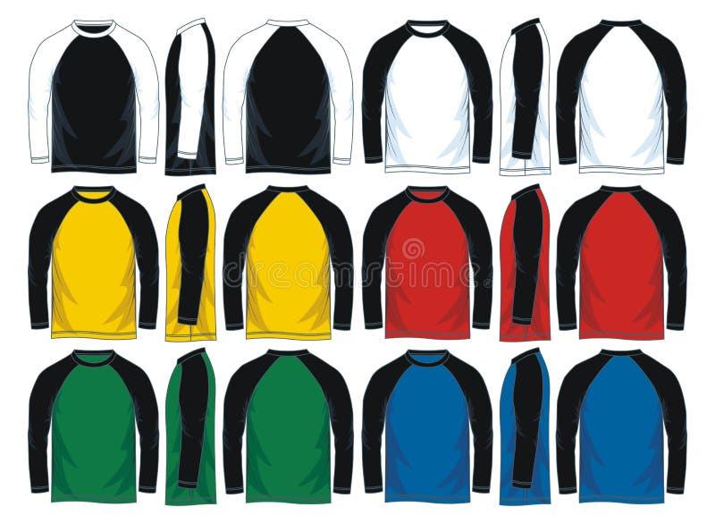 Raglan-T-Shirt Schablonen die Ärmel der Männer lange, Front, Seite und hintere Ansichten Auch im corel abgehobenen Betrag stock abbildung
