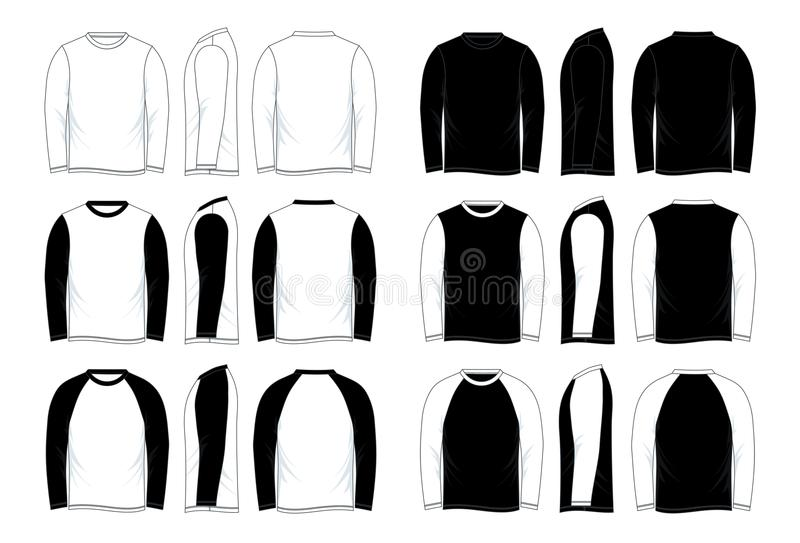 Raglan van de mensen` s Leeg Zwart-wit Lang Koker Overhemdsmalplaatje vector illustratie
