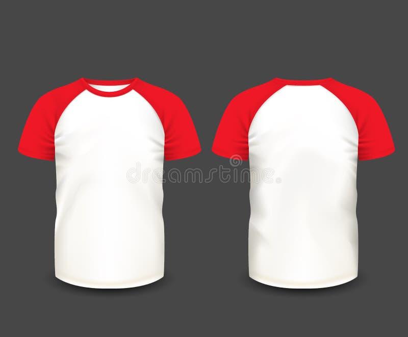 Raglan van mensen t-shirt in voor en achtermeningen Vector Malplaatje Volledig editable met de hand gemaakt netwerk royalty-vrije illustratie