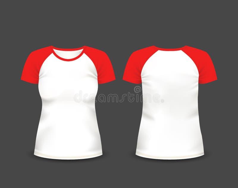 Raglan van vrouwen t-shirt in voor en achtermeningen Vector Malplaatje Volledig editable met de hand gemaakt netwerk stock illustratie