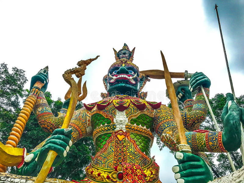 Ragman statue, the character in Thai literature, the most beautiful and cruel. stock photo
