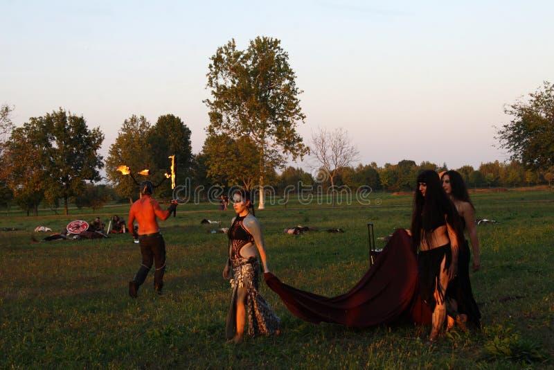 Ragnarok -北欧海盗兄弟- BG 9月28-30 2018年- Casirate d `阿达河- -意大利 图库摄影