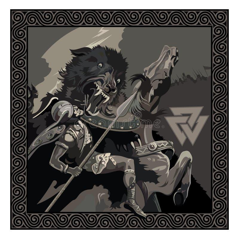 Ragnarok. Battle of the God Odin with the wolf Fenrir. Illustration of Norse mythology. Isolated on white, vector illustration royalty free illustration
