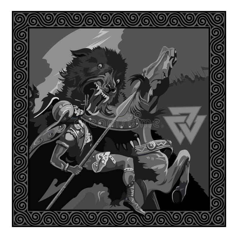 Ragnarok. Battle of the God Odin with the wolf Fenrir. Illustration of Norse mythology. Isolated on white, vector illustration stock illustration