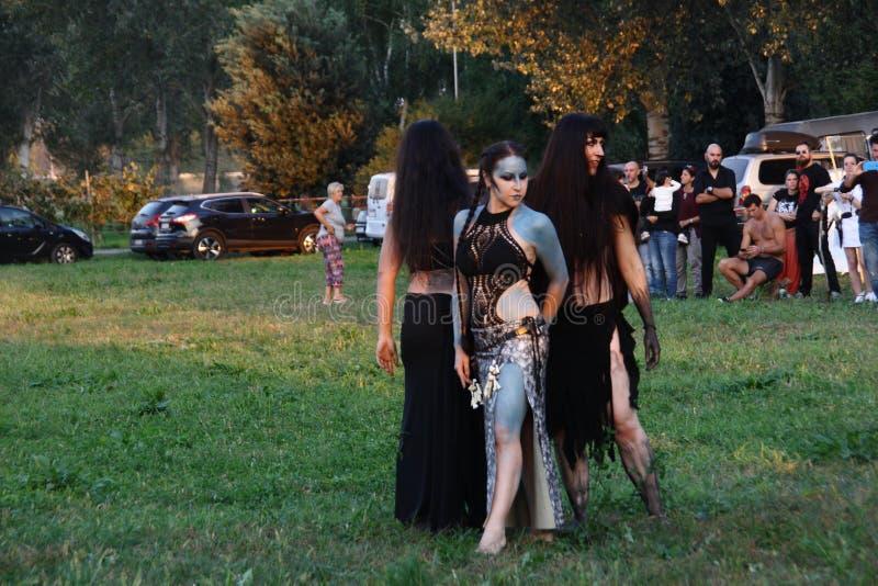 Ragnarok - de Viking bröderna - 28-30 September 2018 - Casirate D ` Adda - BG - Italien fotografering för bildbyråer