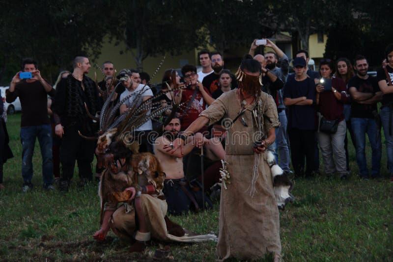 Ragnarok - de Viking bröderna - 28-30 September 2018 - Casirate D ` Adda - BG - Italien royaltyfri fotografi