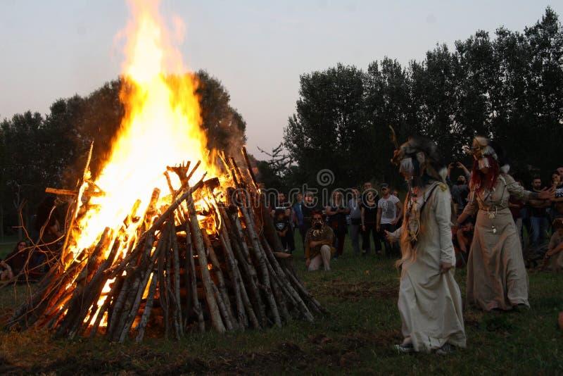Ragnarok - de Viking bröderna - 28-30 September 2018 - Casirate D ` Adda - BG - Italien royaltyfria foton