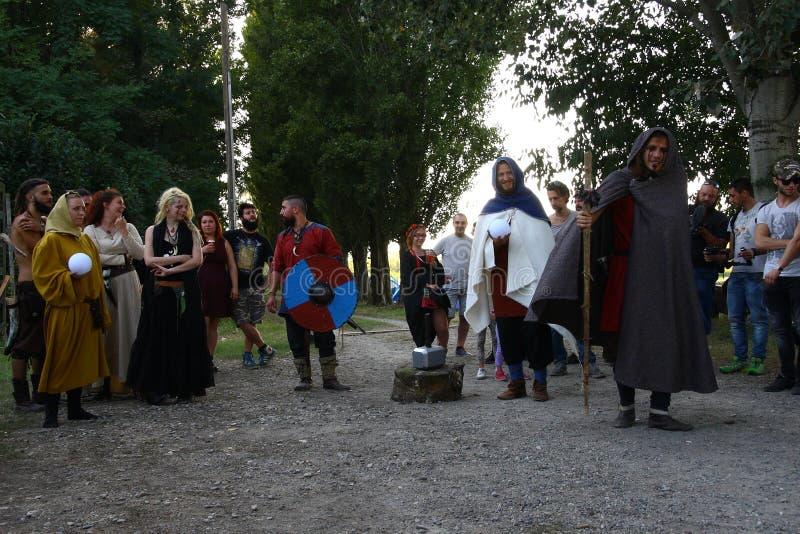 Ragnarok - de Viking bröderna - 28-30 September 2018 - Casirate D ` Adda - BG - Italien arkivbild