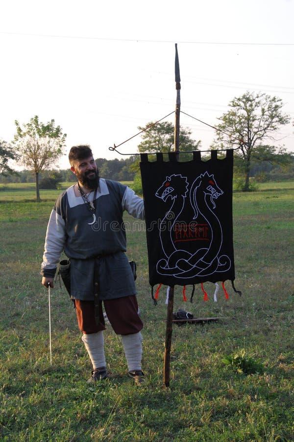 Ragnarok - de Viking-broers - 28-30 September 2018 - Casirate D ` Adda - BG - Italië stock afbeeldingen