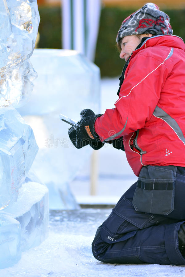 Ragnhild Brodow ice sculptures. Ragnhild Brodow is recognized as a skilled artist who made ice sculptures in the world. She has stock photo