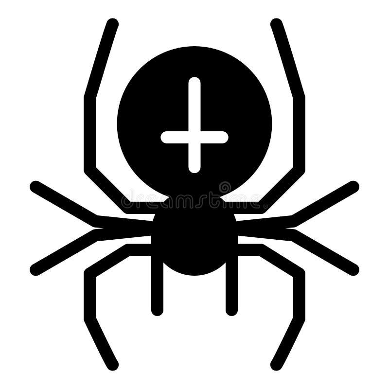 Ragno con l'icona solida trasversale Illustrazione di vettore dell'aracnide isolata su bianco Progettazione di stile di glifo del illustrazione vettoriale