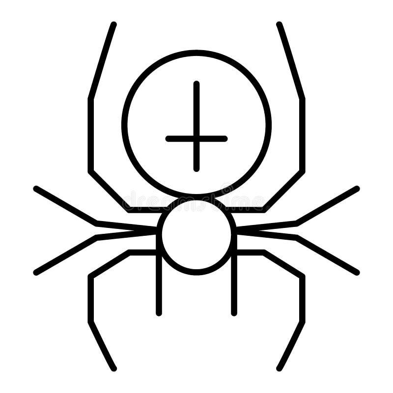 Ragno con la linea sottile trasversale icona Illustrazione di vettore dell'aracnide isolata su bianco Progettazione di stile del  illustrazione di stock