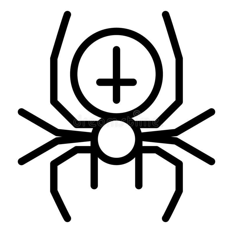 Ragno con la linea trasversale icona Illustrazione di vettore dell'aracnide isolata su bianco Progettazione di stile del profilo  illustrazione vettoriale