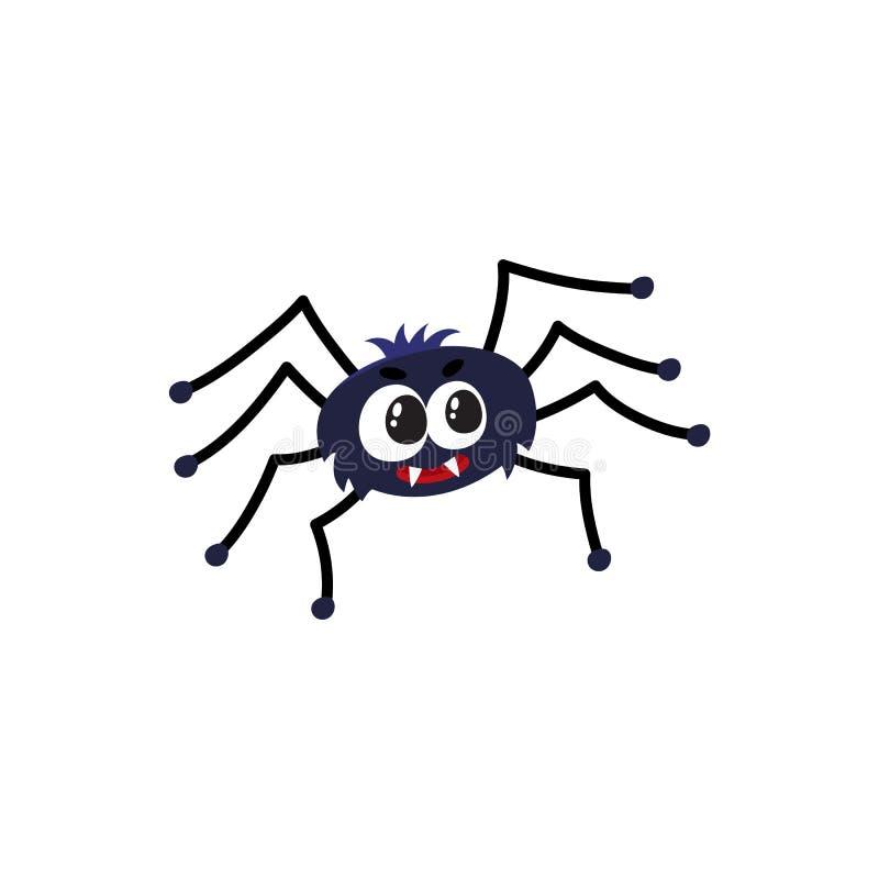 Ragno nero sveglio e divertente, simbolo tradizionale di Halloween, illustrazione di vettore del fumetto illustrazione di stock