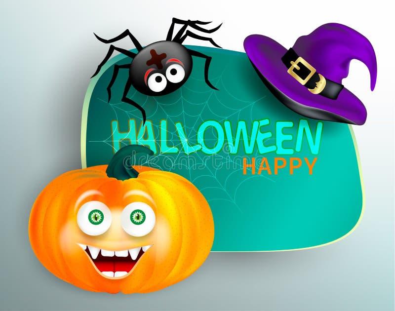 Ragno sveglio sulla ragnatela e zucca arancio con il cappello felice della strega del fronte e di porpora del mostro su fondo bia illustrazione vettoriale