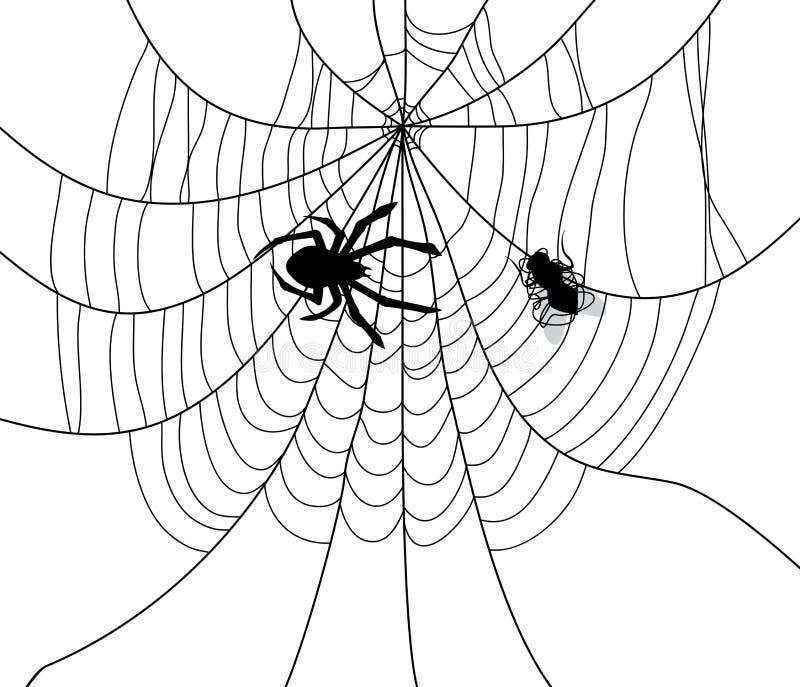 Ragno, web e una mosca presa royalty illustrazione gratis