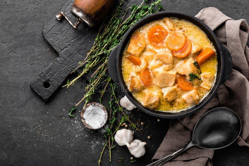 Ragoût de viande, filet de poulet en sauce avec la carotte dans un pot de fonte images libres de droits