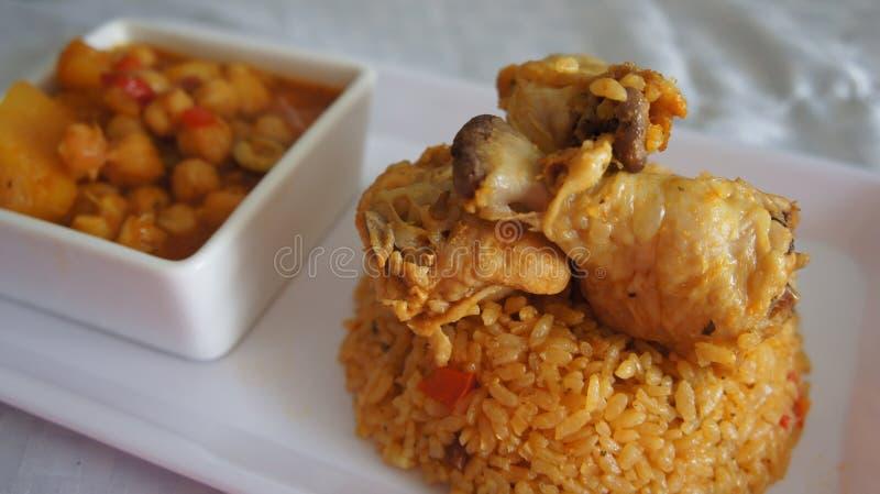 Ragoût et riz de pois chiche photographie stock