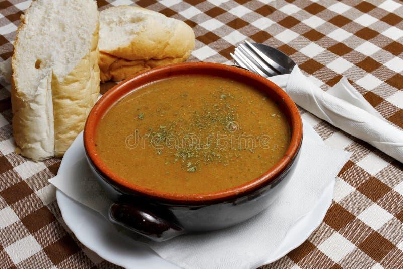 Ragoût balkanique dans une cuvette avec du pain photo libre de droits
