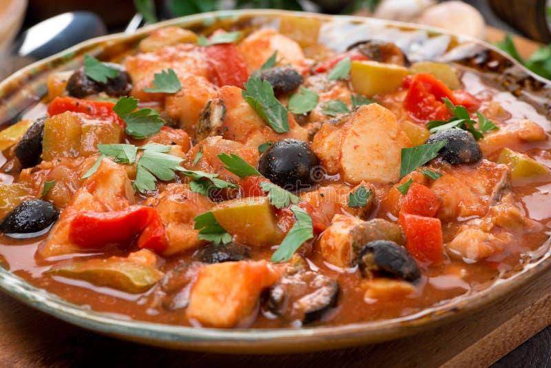 Ragoût de poissons en sauce tomate d'un plat photographie stock libre de droits