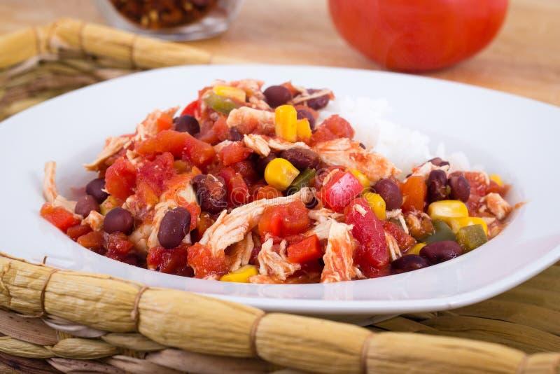 Ragoût de poulet mexicain de piment images stock