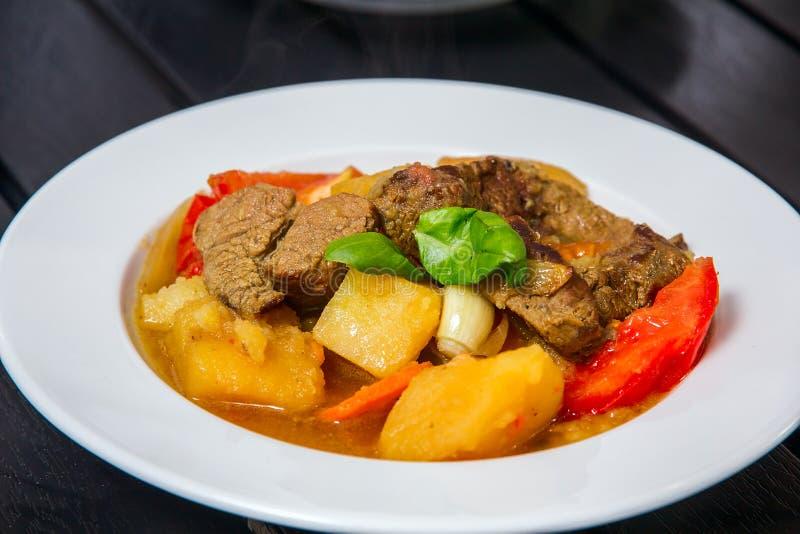 Ragoût met vlees en vegatables stock afbeelding