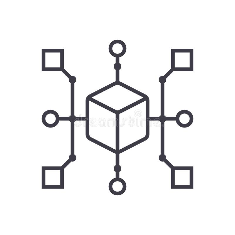 Ragruppi la linea l'icona, il segno, illustrazione di vettore del diagramma su fondo, colpi editabili royalty illustrazione gratis
