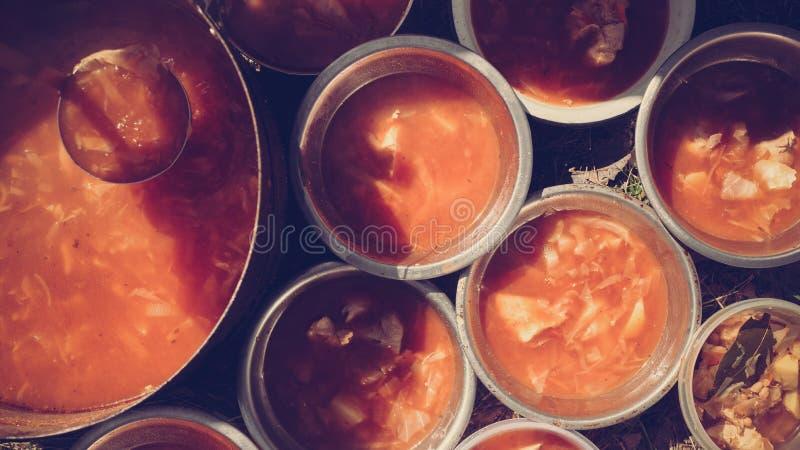Ragu som lagas mat på brand royaltyfri bild