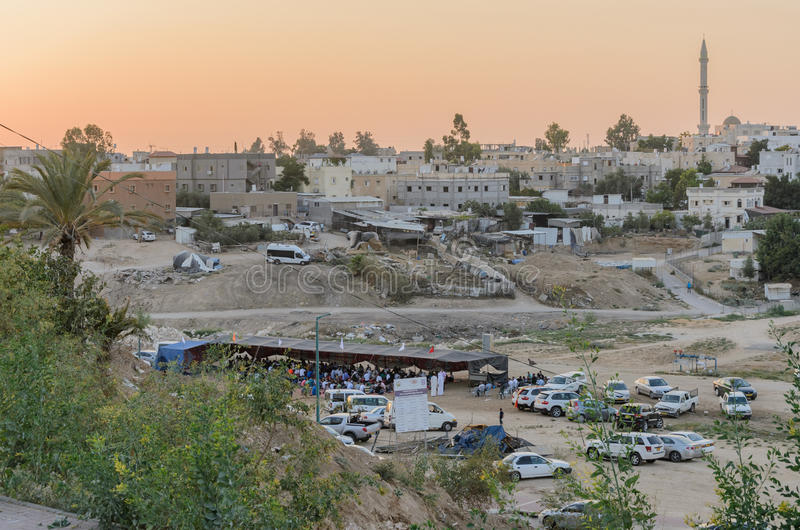 Rahat, (Beer-Sheva) Negev, ISRAEL -July 24,the city's districts View Rahat, residential buildings at sunset stock image