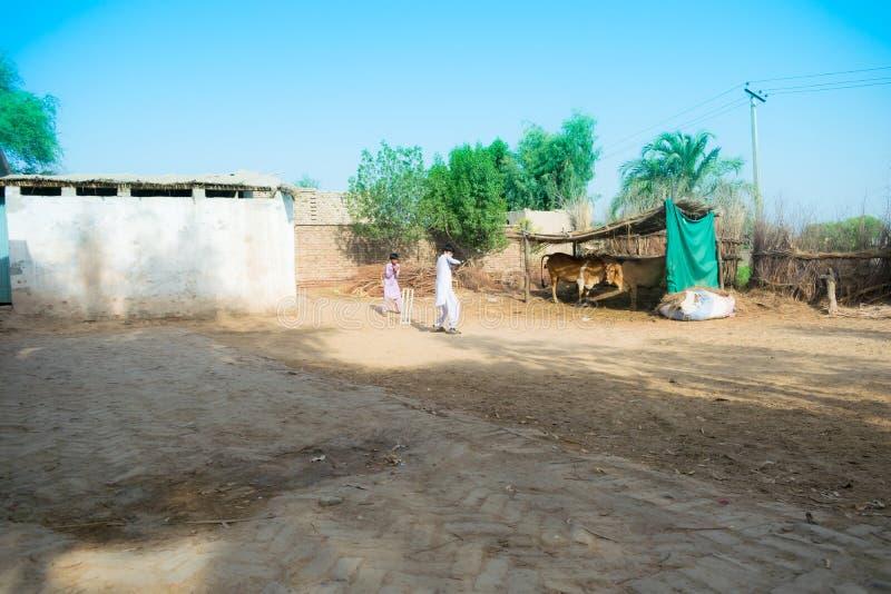 Rahimyar khan, punjab, Pakistan-juli 1,2019: några lokala pojkar som spelar syrsan i en by royaltyfria bilder