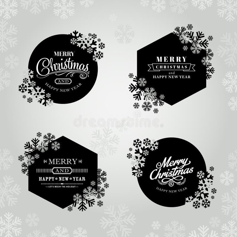 Rahmen der frohen Weihnachten und des guten Rutsch ins Neue Jahr mit Schneeflocken lizenzfreie abbildung