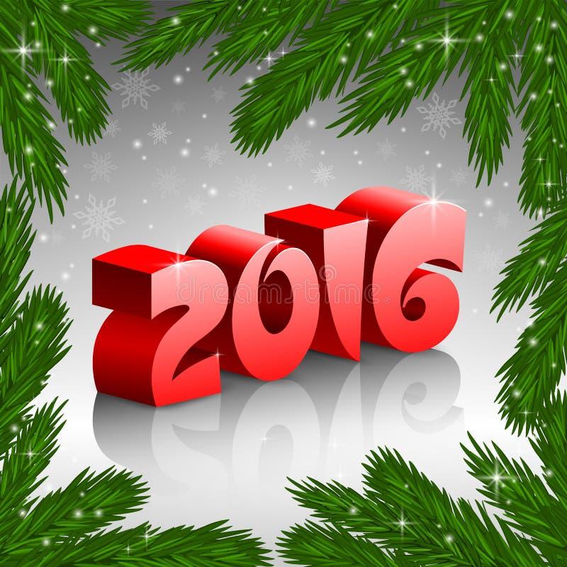 Rahmen des roten neuen Baums des Jahres 2016 und Weihnachten lizenzfreie abbildung