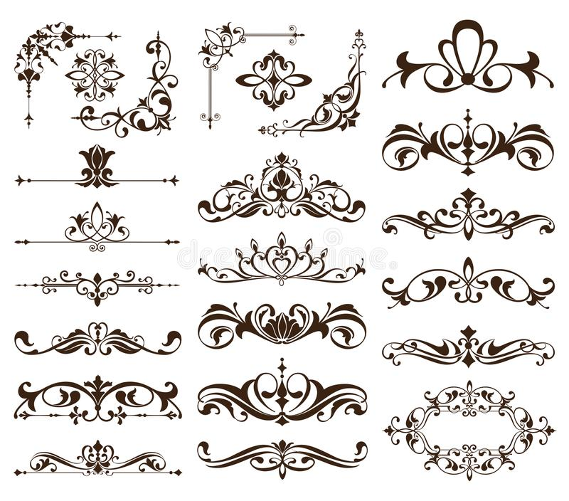 Rahmen, Ecken, Grenzen mit empfindlichen Strudeln in Art Nouveau für Dekoration und Planungsarbeiten der Weinlese mit Blumenmotiv vektor abbildung