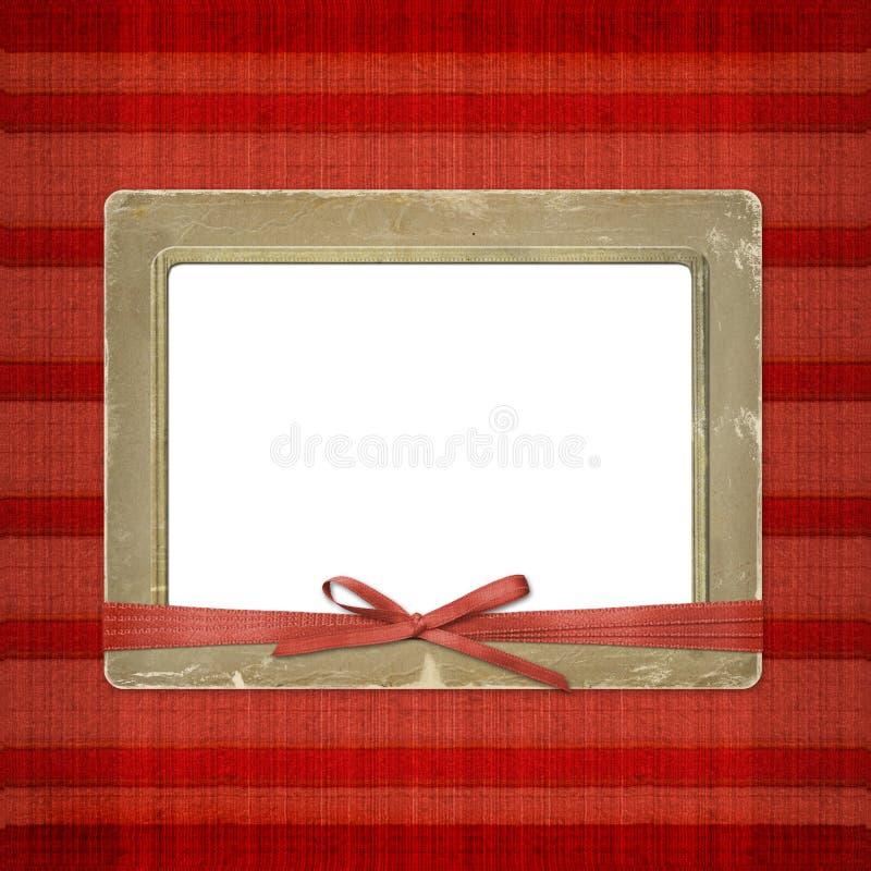 Rahmen für ein Foto oder Einladungen. Ein roter Bogen stock abbildung