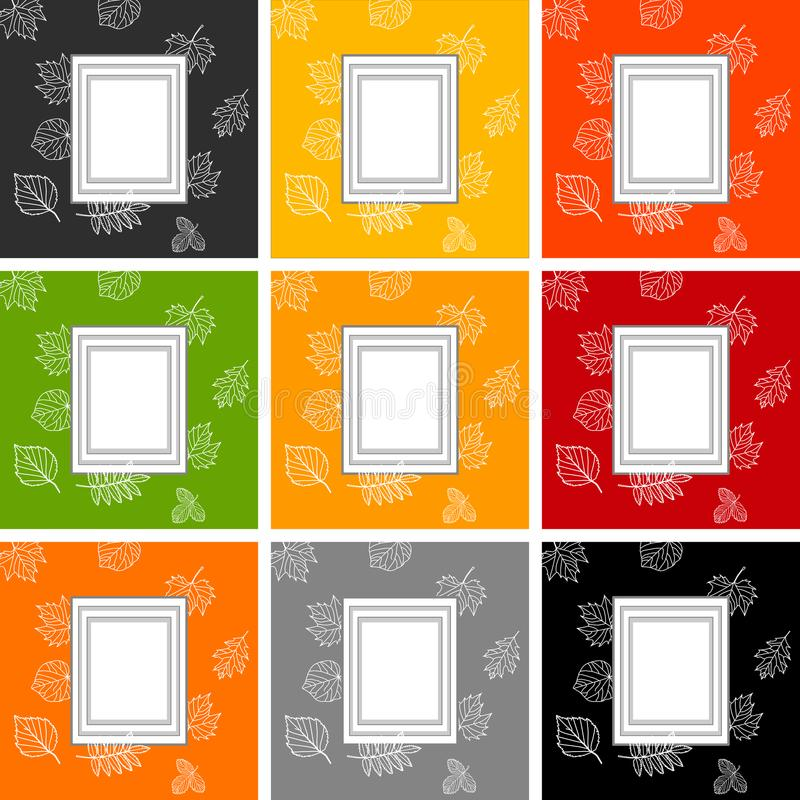 Rahmen für Text vor dem hintergrund des Herbstlaubs, Satz Rahmen auf Hintergründen von verschiedenen Farben stock abbildung
