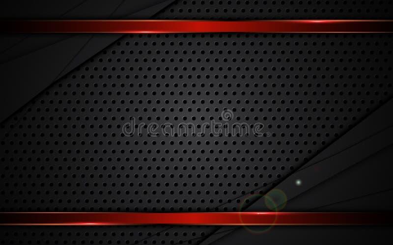 Rahmen-Hintergrundsport der abstrakten Stahlbeschaffenheit entwirft roter metallischer stock abbildung
